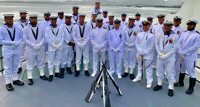 RFMF Naval division personnel onboard the RFNS Kula when it was decommissioned in December last year.  Photo: RFMF Media Cell
