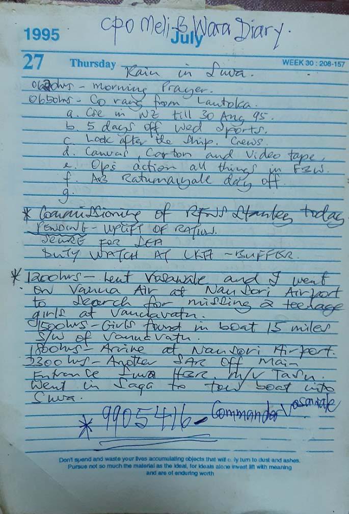The copy of CPO Meli Wara's diary on Thursday, July 27, 1995. Photo: Meli Wara