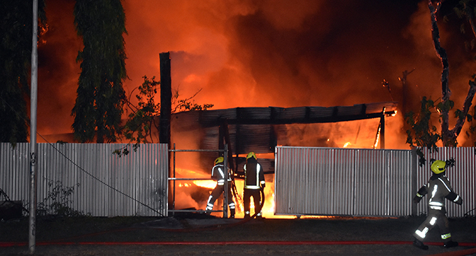 Firefighters from the Nadi Fire Station battle the inferno at Kennedy Avenue in Nadi on May 28, 2020. Photo: Waisea Nasokia