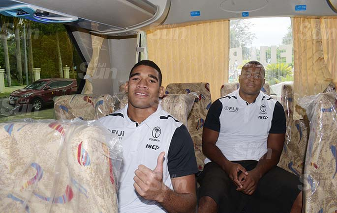 Fiji 7s captain, Meli Derenalagi (left) and Paula Dranisinukula in one of the two buses handover to Fiji Rugby Union by Chinese Ambassador to Fiji Qian Bo on May 21, 2020. Photo: Ronald Kumar.