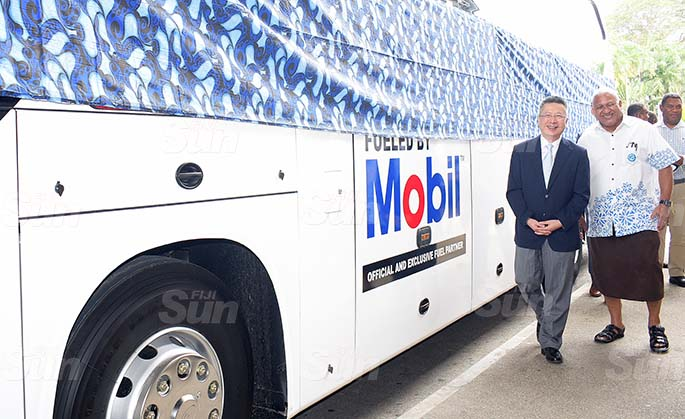 Chinese Ambassador to Fiji Qian Bo (left) Prime Minister Voreqe Bainimarama during the handing over of two bus Fiji Rugby Union on May 21, 2020. Photo: Ronald Kumar.