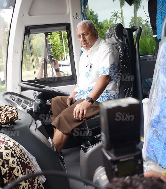 Prime Minister Voreqe Bainimarama during the handing over of two buses fro Fiji Rugby Union by Chinese Ambassador to Fiji Qian Bo on May 21, 2020. Photo: Ronald Kumar.