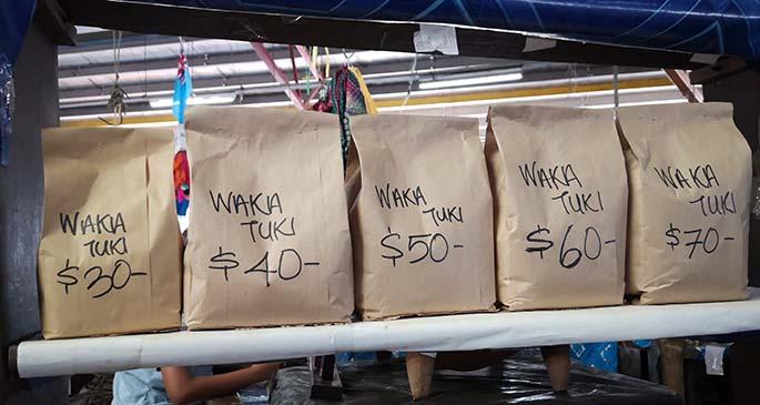 Nats Navunisaravi Kava vendor at the Suva Market.
