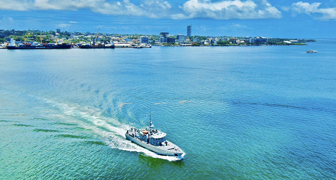 The RFNS Kula heads out on the Suva Harbour.  Photo: RFMF Naval Division