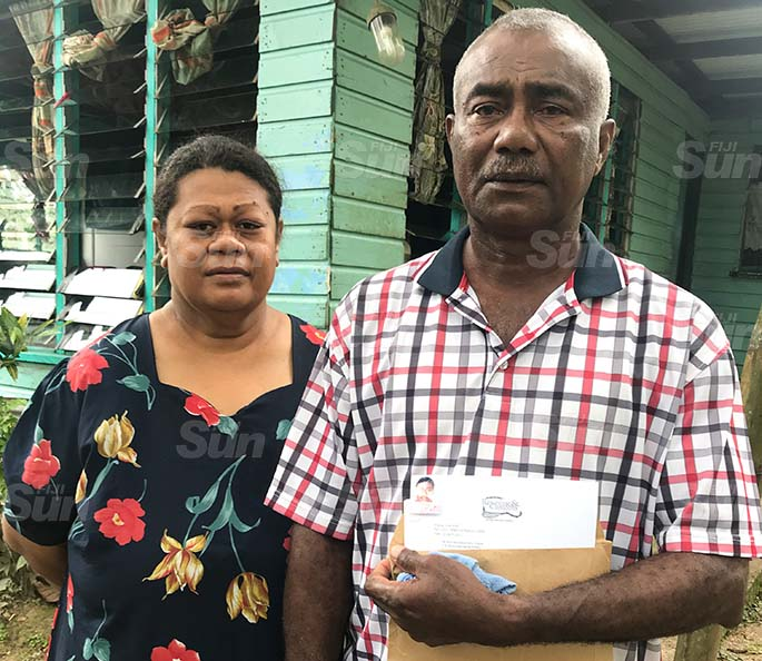 Noa Naivakadranu Jnr's parents, Noa Naivakadranu Snr and Mereoni Foiakau at their home in Naila Village in Bau, Tailevu on May 17, 2020. Photo: Kelera Sovasiga