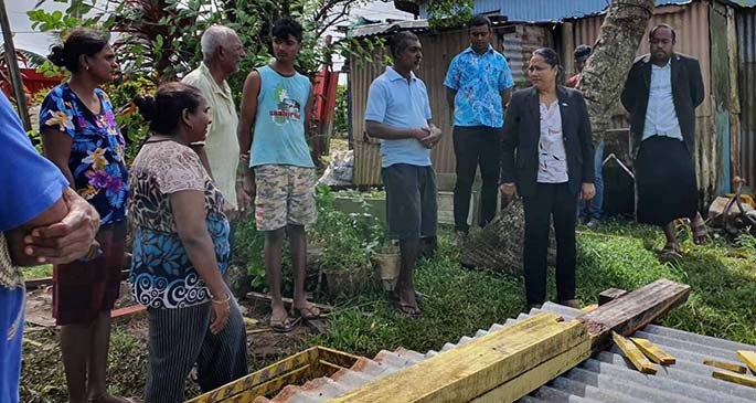 Minister for Housing and Community Development Premila Kumar visiting the Mani family in Newtown, Nasinu. Photo: DEPTFO News