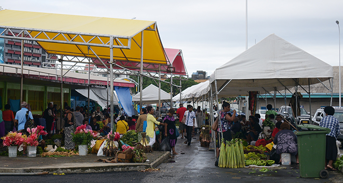 The marquee outside Suva market was put back up by council workers after it was damaged by strong winds on May 8, 2020. Photo: Ronald Kumar