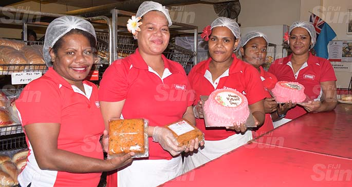 Hot Bread Kitchen Lami shop staff, (from left)Lanieta Tukitoga, Salute Mafi, Katolina Nakita, Vakaula Mateyawa and Vika Loce on May 8, 2020. Photo: Ronald Kumar