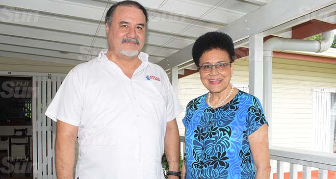 Hot Bread Kitchen Fiji chief executive officer John Samisoni (left) with his mother Mere Samisoni at the family home on May 8, 2020. Photo: Ronald Kumar