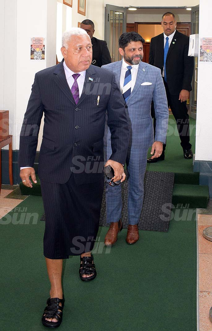 Prime Minister Voreqe Bainimarama followed by Attorney General Aiyaz Sayed-Khaiyum outside Parliament on 27, 2020. Photo: Ronald Kumar.