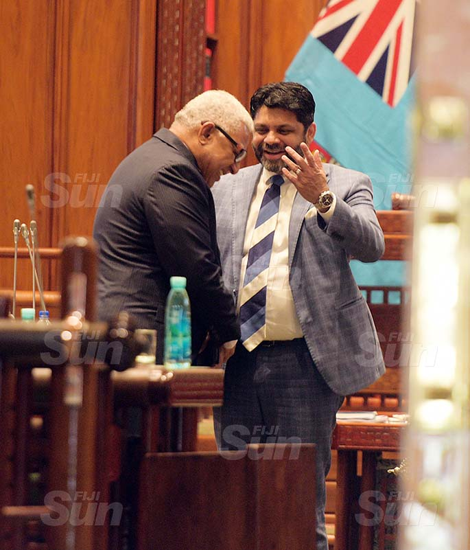 Prime Minister Voreqe Bainimarama followed by Attorney General Aiyaz Sayed-Khaiyum in Parliament on 27, 2020. Photo: Ronald Kumar.