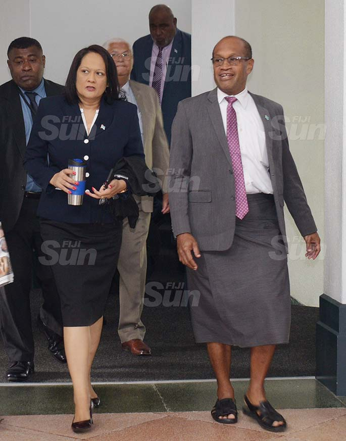 Minister for Education Rosy Akbar (left) and Minister fro Lands Jone Usamate outside Parliament on 27, 2020. Photo: Ronald Kumar.