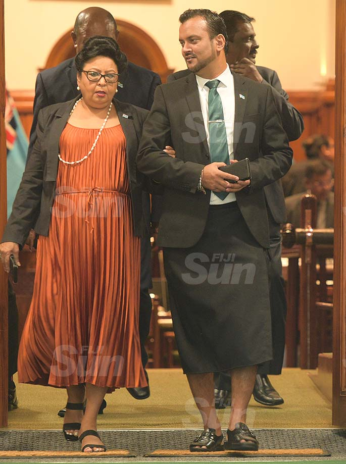Assistant Minister for Women Veena Bhatnagar and Government Whip Alvick Maharaj outside Parliament on 27, 2020. Photo: Ronald Kumar.