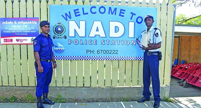 Special Constable Sekove Ravoka and Constable Vineshwan Mudliar back at work in Nadi on May 30, 2020. Photo: Mereleki Nai