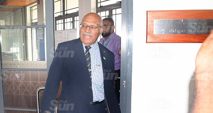 Suspended Opposition Leader Sitiveni Rabuka exits Opposition office following the sixty days suspension all SODELPA members of Parliament on May 26, 2020. Photo: Ronald Kumar.