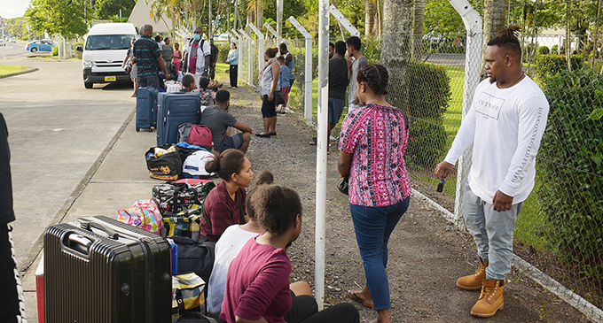 Some of the home bound Solomon Islanders outside the University of the South Pacific on May 27, 2020. Photo: Ronald Kumar
