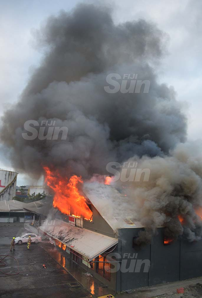Fire fighters battling Flea Market and Value City shop in Suva on May 22, 2020. Photo: Ronald Kumar.