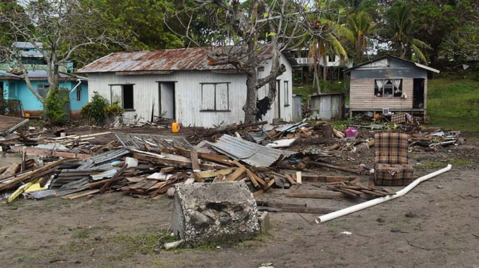 Home in Yaroi and Makadru Village in Matuku, Lau, that were damaged by Tropical Cyclone Harold. Photos: Office of the Prime Minister