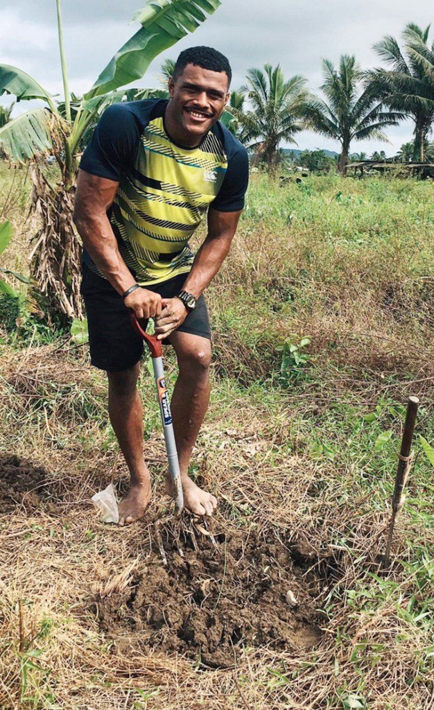 Jiuta Wainiqolo works on his farm in Navua on May 11, 2020. Wainiqolo made his debut for the Fiji Airways Flying Fijians against the Barbarians last November. He is now recalled into the Fijian 7s extended training squad for the World Sevens Series and next year's Olympic Games in Tokyo, Japan. Photo: Simione Haravanua