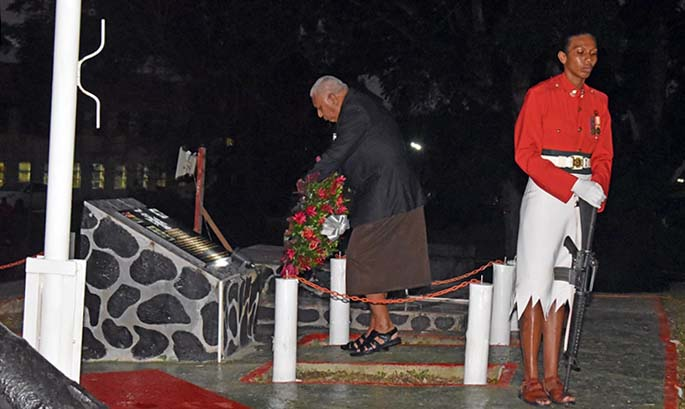 Prime Minister Voreqe Bainimarama during the Dawn Service at the Queen Elizabeth Barracks in Nabua on June 23, 2020. Photo: OPM