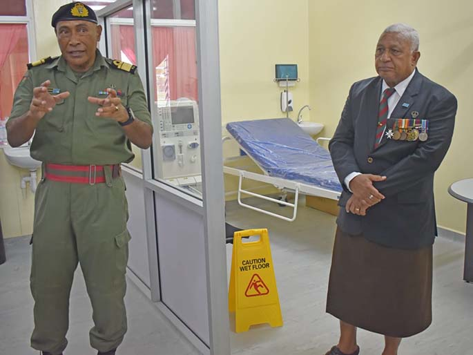 Left: Republic of Fiji Military Forces Commander Rear Admiral Viliame Naupoto and Prime Minister Voreqe Bainimarama inside the RFMF's new Intensive Care Unit at the Queen Elizabeth Barracks in Nabua on June 23, 2020. Photo: OPM