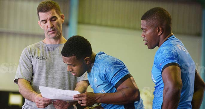 National 7s Squad coach Gareth Baber with Terio Tamani and Nasoni Tavuki during their first team gym session post COVID 19 at HPU gym on June 26, 2020. Photo: Ronald Kumar.