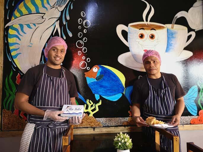 Ika Talei restaurant staff (from left) Finau Sokobalavu Buredua and Pita Nadaku. Photo: Laiseana Nasiga