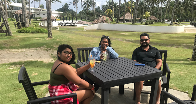 The Gounder family ejoying their day at The Pearl Resort, Pacific Harbour from left: Ari, Arti and Arvind Gounder on June 14, 2020. Photo: Maraia Vula
