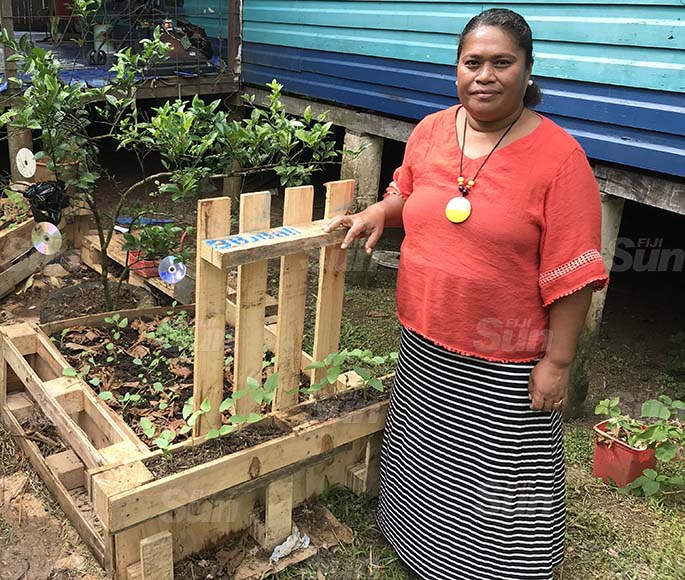 Maria Latianara shows a part of her innovative backyard gardening methods at her home in Wakanisila, Kalabu, on June 21, 2020. Photo: Kelera Sovasiga
