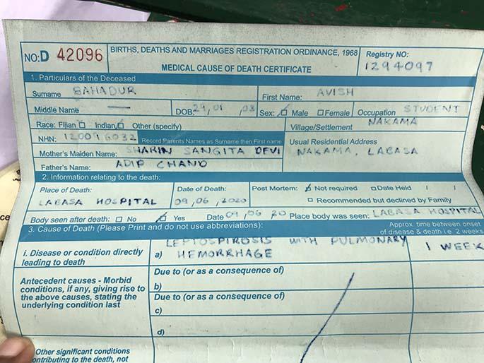Medical Cause of Death certificate confirming Avish Bahadur died of leptospirosis.