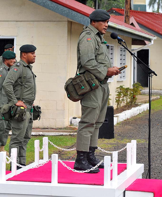 3FIR Commanding Officer Lieutenant Colonel Aseri Rokoura addresses the 3FIR during a parade to launch the Infantry Week at the Queen Elizabeth Barracks in Nabua on June 18, 2020. Photo: RFMF Media