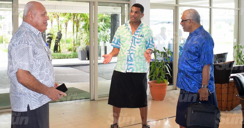 SODELPA members (from left) Viliame Gavoka, Aseri Radrodro and Ratu Naiqama Lalabalavu during their management board meeting at Holiday Inn on June 18, 2020. Photo: Ronald Kumar.