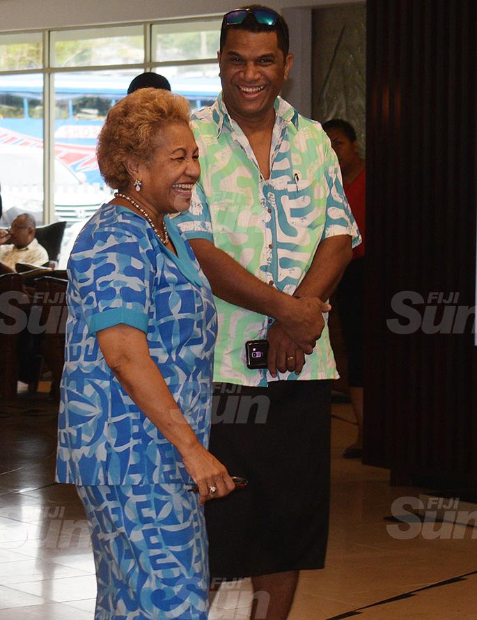 Emele Duituturaga (left) and Aseri Raddrodro during SODELPA Management board meeting at Holiday Inn on June 18, 2020. Photo: Ronald Kumar.