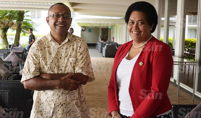 Ratu Antonio Rabici (left) and Sainiana Radrodro during SODELPA Management board meeting at Holiday Inn on June 18, 2020. Photo: Ronald Kumar.