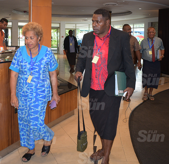 Emele Duituturaga (left) with other SODELPA members during their management board meeting at Holiday Inn on June 18, 2020. Photo: Ronald Kumar.