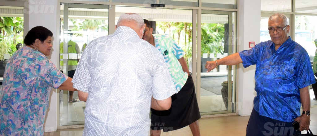 SODELPA members (from left) Losena Salabula, (back facing) Viliame Gavoka, Aseri Radrodro and Ratu Naiqama Lalabalavu during their management board meeting at Holiday Inn on June 18, 2020. Photo: Ronald Kumar.