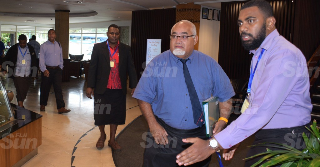 Ratu Epenisa Cakobau (second from right) is escorted to the SODELPA management board meeting by party official at Holiday Inn on June 18, 2020. Photo: Ronald Kumar.