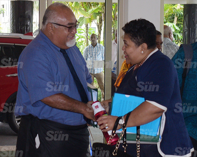 SODELPA members (from left) Ratu Naiqama Lalabalavu, Ratu Epenisa Cakobau and Tania Waqanika during their management board meeting at Holiday Inn on June 18, 2020. Photo: Ronald Kumar.