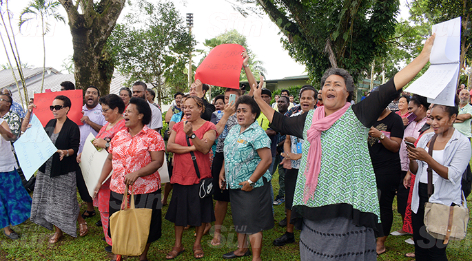 University of South Pacific staff and students during the protest against the executive members meeting regarding the Vice Chancellor Professor Pal on June 8, 2020. Photo: Ronald Kumar.