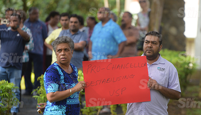 University of South Pacific staff during protest at USP on June 8, 2020. Photo: Ronald Kumar.