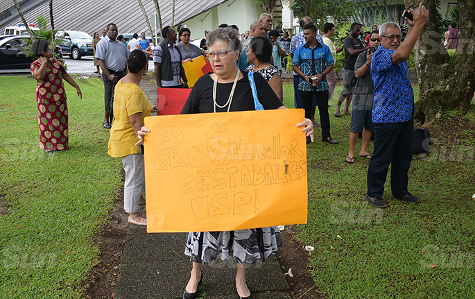 University of South Pacific senior staff, Elizabeth Reade Fong while protesting with other staff and students at USP on June 8, 2020. Photo: Ronald Kumar.