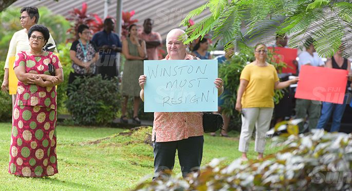 University of South Pacific Associate Professor Geography, Eberhard Weber while protesting at USP on June 8, 2020. Photo: Ronald Kumar.