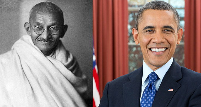 Mahatma Gandhi (left), and former U.S. President Barack Obama.