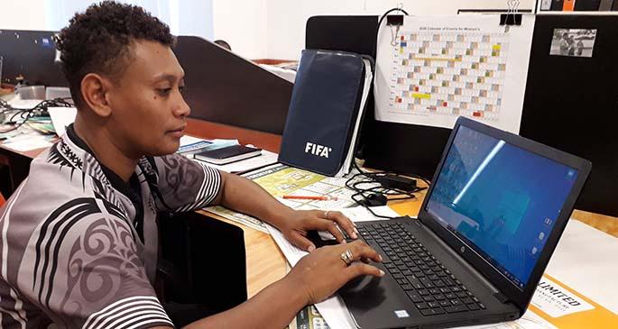 Lice Waqaliti at work at the Fiji Football Association headquarters at Vatuwaqa, Suva on June 5, 2020.Photo: Sereana Salalo