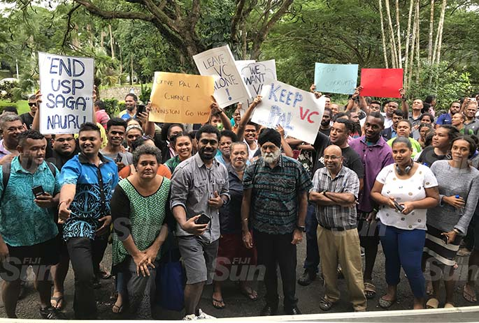 The University of the South Pacific Vice Chancellor Professor Pal Ahluwalia with staff, students and supporters of the VC at USP on June 8, 2020. Photo: Ashna Kumar