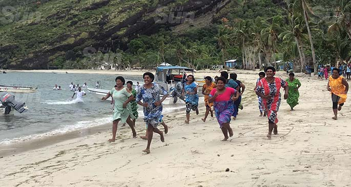 Women and crew of RFNS Savenaca perform the traditional cicivi ni cere in Yalobi Village on Waya island in Yasawa on June 6, 2020. Photo: Kelera Sovasiga