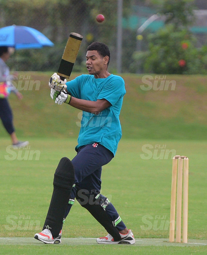 Fiji Cricket under 19 development side batsman Taule Jokatama in action against Ono-I-Lau at Albert Park on July 11, 2020. Photo: Ronald Kumar.
