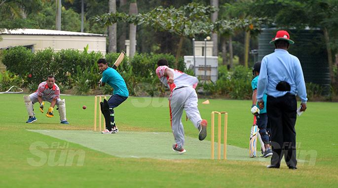Fiji Cricket under 19 development side batsman Taule Jokatama lines up his shot against Ono-I-Lau at Albert Park on July 11, 2020. Photo: Ronald Kumar.