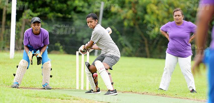 Northland Tailevu  batsman, Adi Kula Waqa in action against Nadi womens cricket side during Fiji Cricket T-10 Bula womens competition at Bedesi Park in Suva on July 11, 2020. Photo: Ronald Kumar.