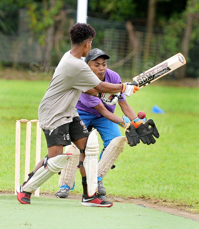 Nadi wicket keeper Ilivema Wini was quick to the ball as Northland Tailevu  batsman, Viniana Marama looks on during Fiji Cricket T-10 Bula womens competition at Bedesi Park in Suva on July 11, 2020. Photo: Ronald Kumar.